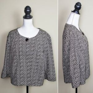 TALBOTS Blazer Cape, Brown White Cropped, PLUS 20W